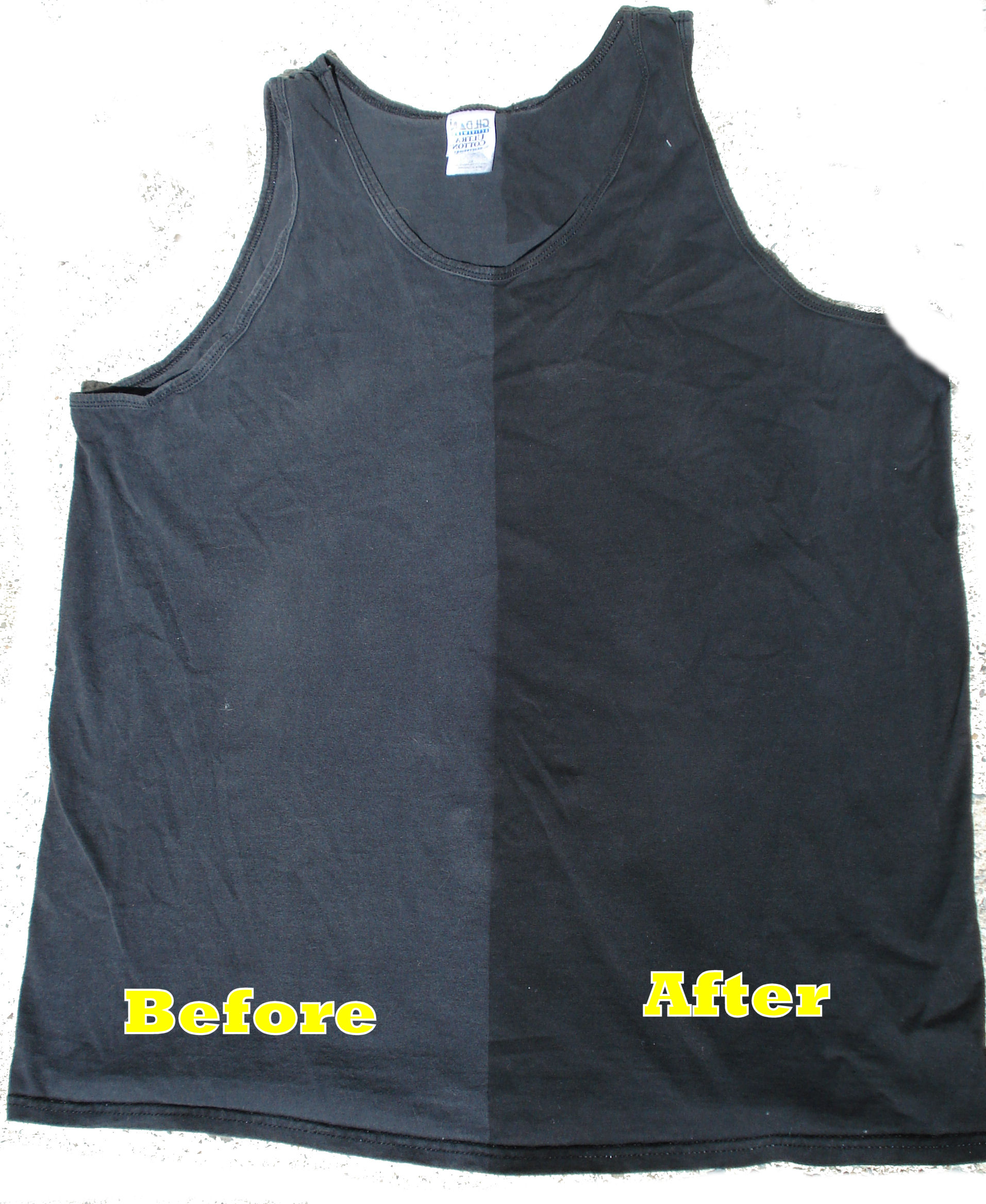 Example of restore wash-faded black fabric