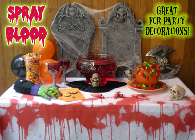 Dining table set for ghoulish halloween