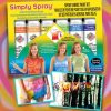 Soft simply spray poppy red, brite orange, brite yellow, green apple, blue jay and deep purple colours, kit party pack. fabric paint for clothing and garments restoration