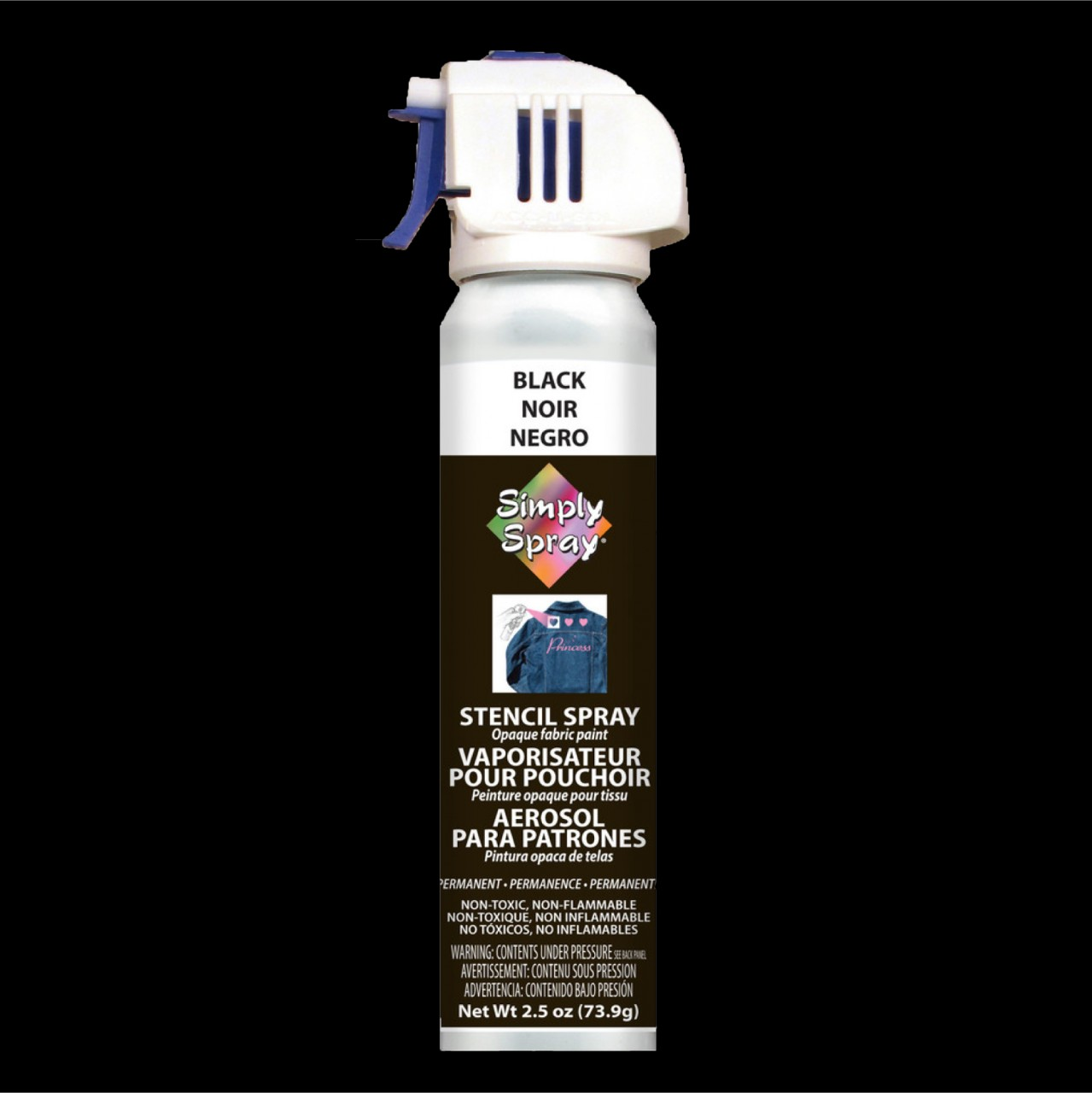 Stencil simply spray black colour. Fabric paint for clothing and garments decoration