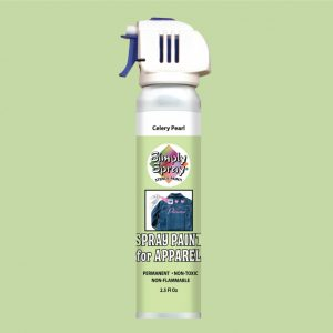 Stencil simply spray celery pearl colour. Fabric paint for clothing and garments decoration