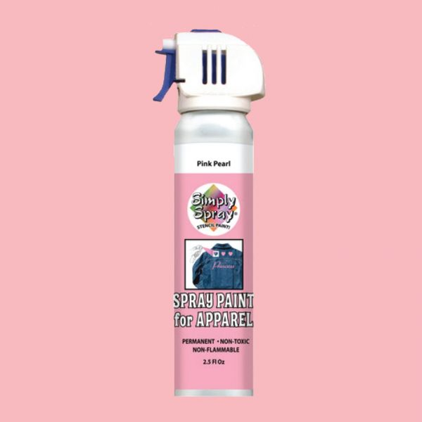 Stencil simply spray pink pearl colour, fabric paint for clothing and garments decoration