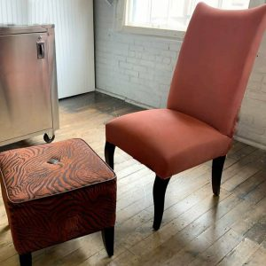 Upholstery simply spray Burnt Orange fabric paint for furniture restoration
