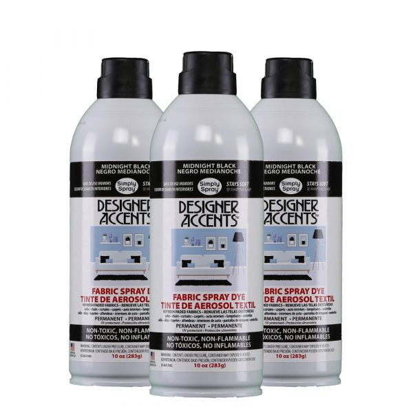 Upholstery simply spray Midnight Black fabric paint for furniture restoration