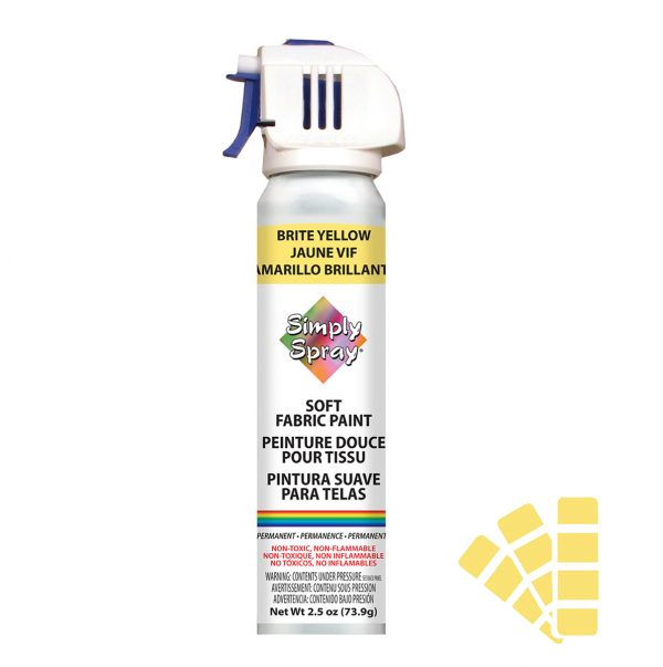 Soft simply spray brite yellow colour, fabric paint for clothing and garments restoration