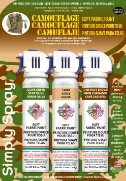 Soft simply spray olive green, sand and chestnut brown colours, camouflage pack. fabric paint for clothing and garments restoration