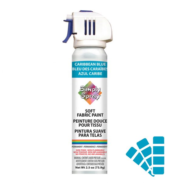 Soft simply spray caribbean blue colour, fabric paint for clothing and garments restoration