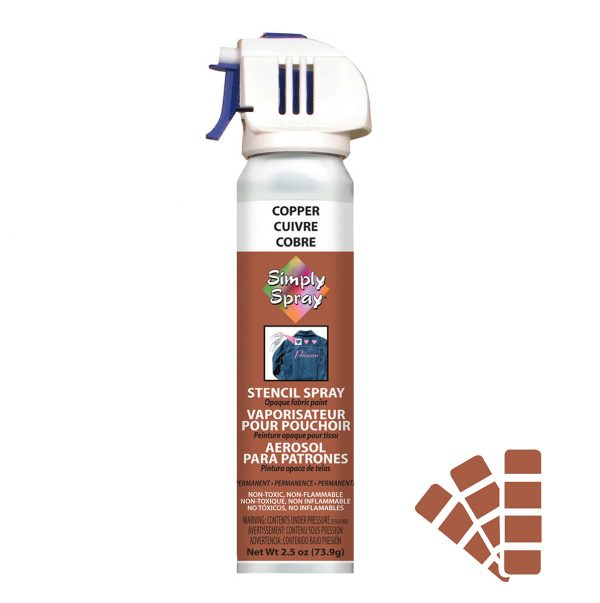 Stencil simply spray copper colour, fabric paint for clothing and garments decoration
