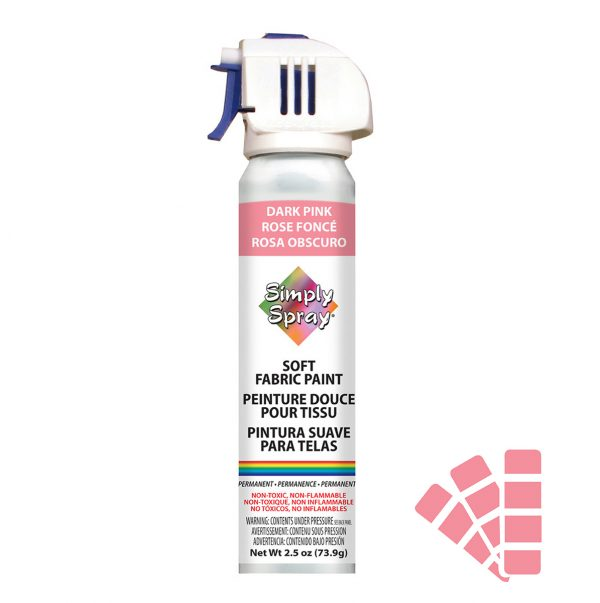 Soft simply spray dark pink colour, fabric paint for clothing and garments restoration