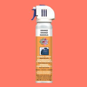 Stencil simply spray orange colour, fabric paint for clothing and garments decoration