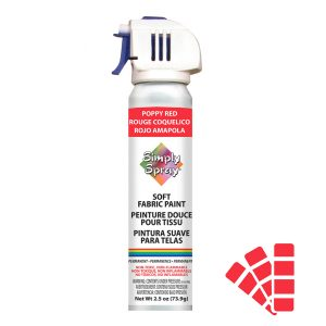 Soft simply spray poppy red colour, fabric paint for clothing and garments restoration