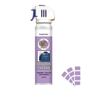 Stencil simply spray purple pearl colour. Fabric paint for clothing and garments decoration