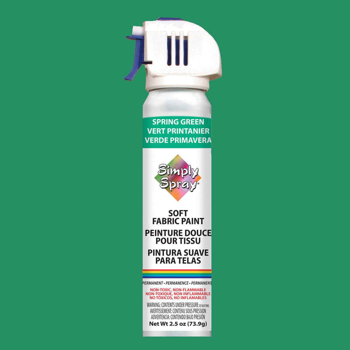 Soft simply spray spring green colour, fabric paint for clothing and garments restoration