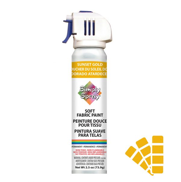 Soft simply spray sunset gold colour, fabric paint for clothing and garments restoration