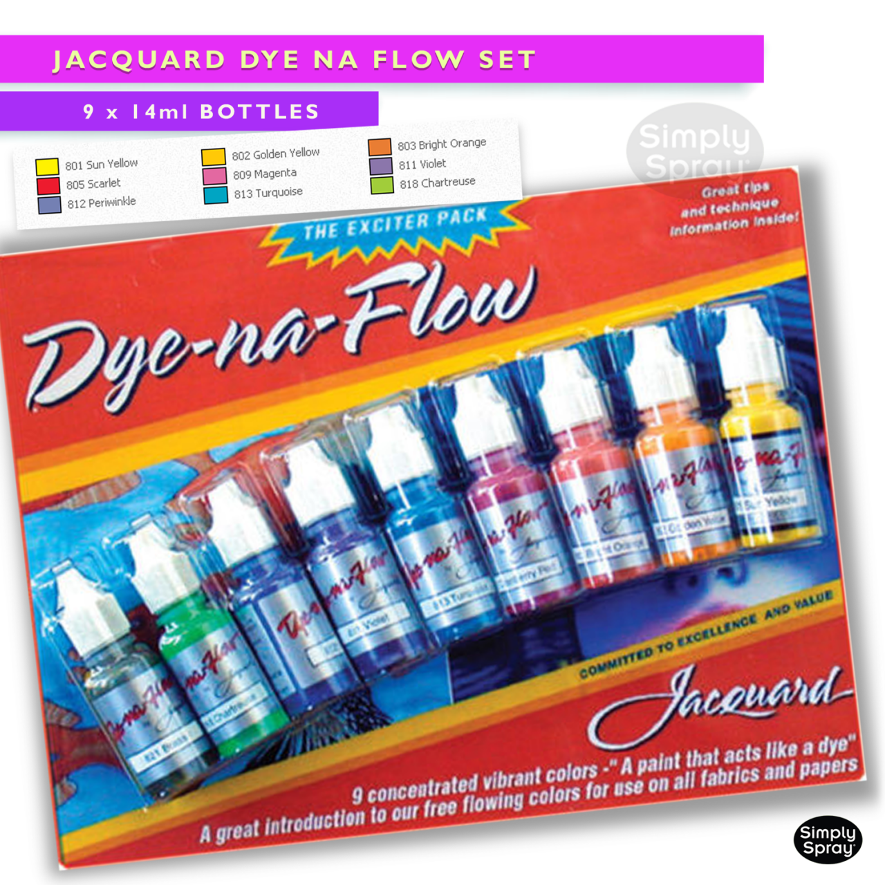 jacquard dye na flow. Paint for use on all fabrics and papers.