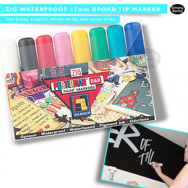 Zig waterproof 15mm broad tip markers – clothing/fabric decoration
