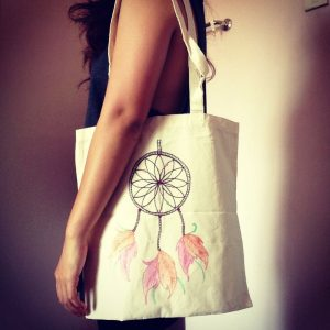 Calico bag in natural colour - Gift tote bag