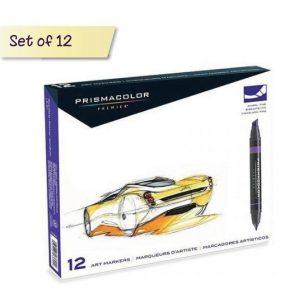 Prismacolor Chisel/Fine Tip Marker Set - premier double ended marker - set of 12 colours
