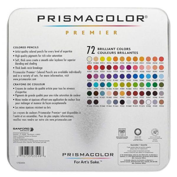 Colours in the Prismacolor Premier set of 72