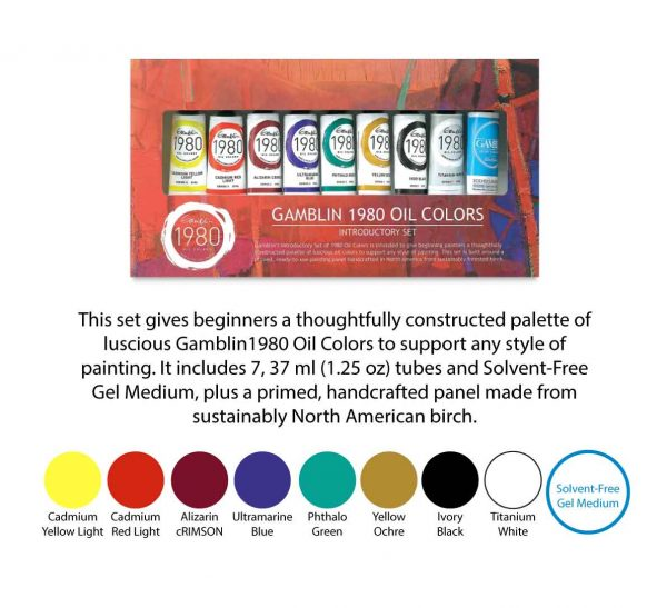 Gamblin Gift Introductory Sets – 1980 Oil Colors set – 9 colours 37ml tubes