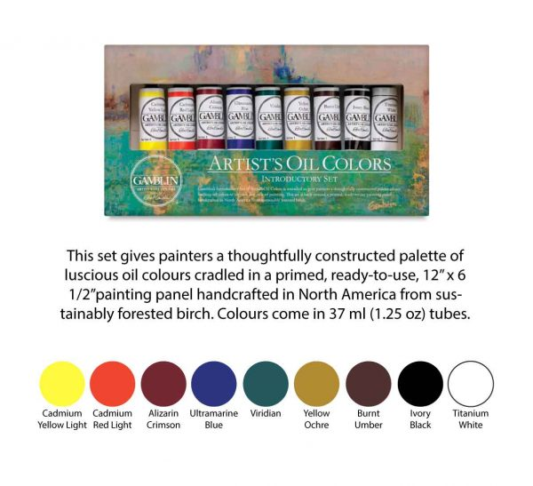 Gamblin Gift Introductory Sets – Artist's oil colors set – 9 colours 37ml tubes