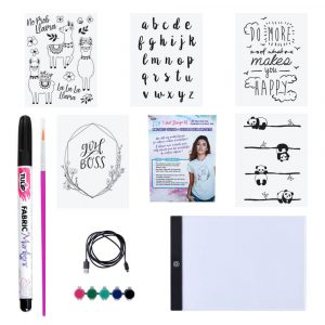 Contents of Tulip t-shirt design kit with LED board